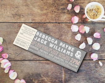 Festival Wedding Invitation. Perforated Ticket with RSVP Stub. Personalise and customise