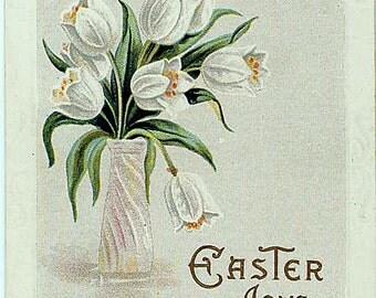 Vtg Easter Postcard Joys White Tulips in Vase 1914 J Herman Copyright
