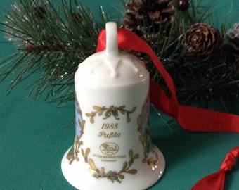 "1988 Christmas Porcelain Bell ""Pußta"" by Hutschenreuther Germany, vintage collectible Christmas bell, fine German porcelain"