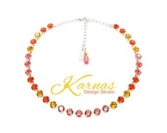 ORANGE SUGAR 8mm or 39ss Crystal Chaton Necklace Made With Swarovski Stones *Pick Your Finish *Karnas Design Studio *Free Shipping
