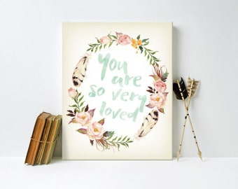Nursery Art, You are so Loved, Floral Wreath, Water Color, Canvas, Art Print #359