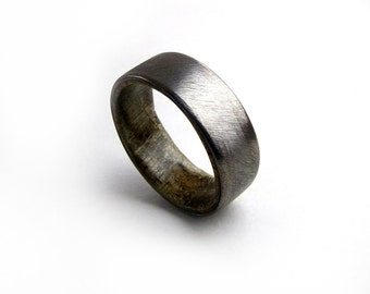 Ancient Wood Ring, Bog Oak Ring, Handmade Ring, Brushed Titanium Ring, Unique Wedding Ring, Grand Junction Guy