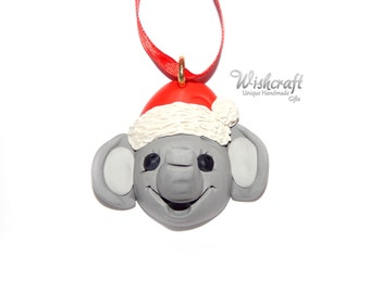 elephant christmas ornament - polymer clay