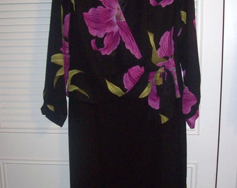 Dress 14, Evening,  Vintage Party Dinner Maxi  Dress - Orchids So Beautiful ! Low Cut Wrap Top 14