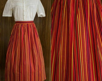 "50s Striped Skirt | 50s Skirt | 1950s Skirt | 50s Full Skirt | 50s Colorful Skirt | 50s Cotton Skirt | Striped Skirt | 32"" - 33"" Waist"