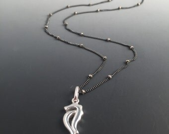 Sterling Silver Seahorse Necklace on Satellite Chain