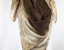 """Hand painted silk square scarf, 44""""x44 Chocolate brown and caramel abstract silk scarf/ halter top, OOAK and ready to ship, SSB1"""