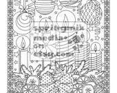 Christmas coloring page - Holiday Xmas Candles - Christmas Treats Holiday Coloring Book - Adult Coloring Page