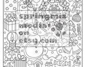 Coloring Page to Relax, Soothing, calm and delightful pages to color, Christmas Winter Holiday