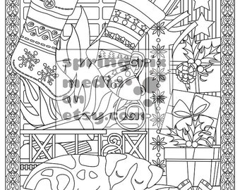 christmas coloring page christmas treats holiday coloring book adult coloring page holiday fireplace - Holiday Pictures To Colour
