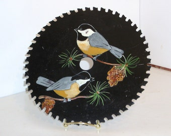 Vintage circular saw blade hand painted with Birds on Pine Branch's .