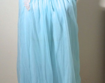 Vintage 1960s Light Blue Chiffon Gauzy Sleeveless Night Gown