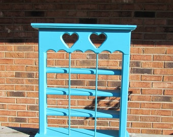 Shabby Chic Ocean Turquoise Wall Shelf ~ 4 tier ~ Cottage Display Shelf ~ Large Wooden Shelf ~ Beach Décor ~ Solid Wood