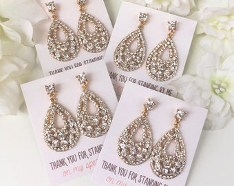 Bridesmaid set of 3 4 5 6 7 8 Personalized Bridesmaids Gift Set jewelry Gold Bridesmaid Gifts Gold Earrings Bridesmaid Drop E285-G