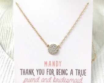Personalized Bridesmaids Gift Pendant Necklace Bridesmaid Gift Bridesmaid Necklace Gold Bridesmaid Necklace Maid of Honor Gift Dainty N246G