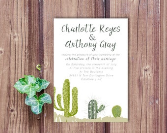 Desert wedding invitation, cactus wedding invitation, cactus invite, Arizona wedding, Southwestern invitation, Mexico wedding invitation