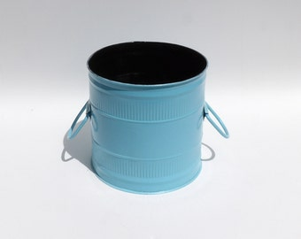 Turquoise metal can etsy for Turquoise bathroom bin