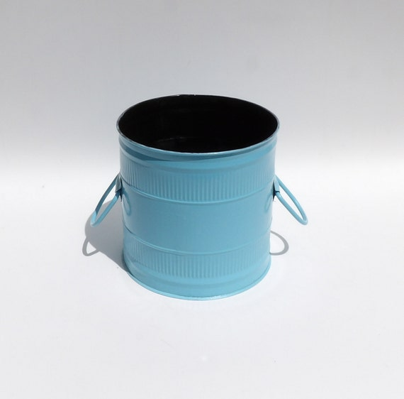 Metal trash can waste receptacle steel garbage bin mcm mid for Turquoise bathroom bin