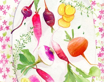Radishes - Original Watercolor Painting by Lindsay Gardner