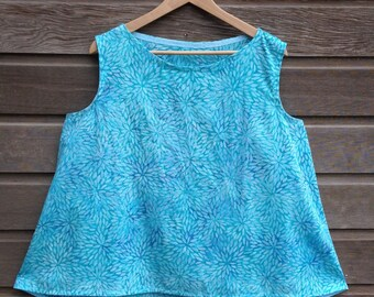 Womens batik tank top / Boat-neck swing top/ Loose a-line fit / Sleeveless / Multiple colors / Made to order / Sizes XS-XXL