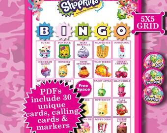 SHOPKINS 5x5 Bingo printable PDFs contain everything you need to play Bingo.