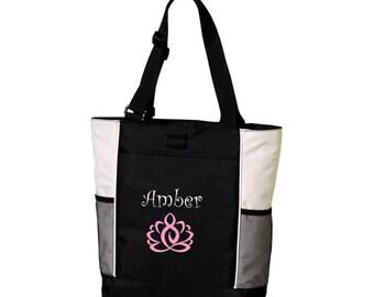 Personalized Tote Bag Yoga Lotus Exercise Bag * Custom Workout Gym Bag with Name Monogram * Embroidered Gift