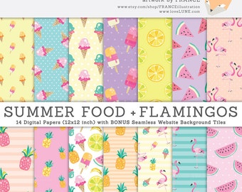 GET 3 FOR 2. Summer Tropical Digital Papers: Flamingo & Food. Watercolor Pineapple, Ice Cream, Watermelon, Wreaths, Popsicle, Lime. CA019.