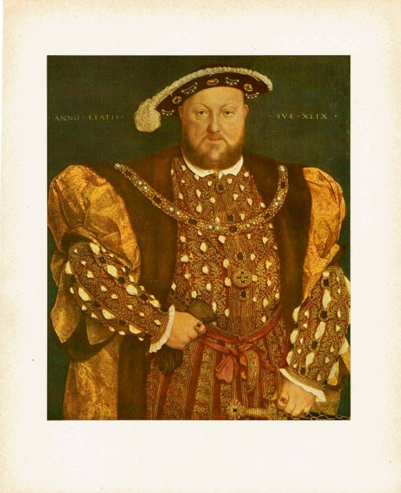 Antique print of painting by Hans Holbein the Younger of Henry VIII, King of England, in sumptuous clothes and jewels, 1926