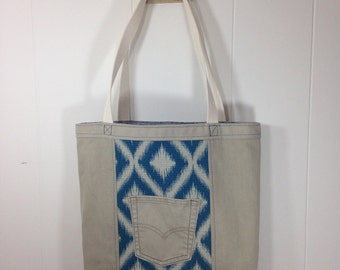 Tote Bag - Upcycled Denim  & Upholstery Fabric- Blue