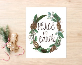 Christmas Printable Art Print 8x10, Peace on Earth, Holiday Decor, Winter Printable, Christmas Decor, Christmas Wall Art, Instant Download
