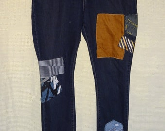 Large Size Women's Patchwork Jeans Repurposed Designer Jeans Upcycled Denim Recycled Jeans