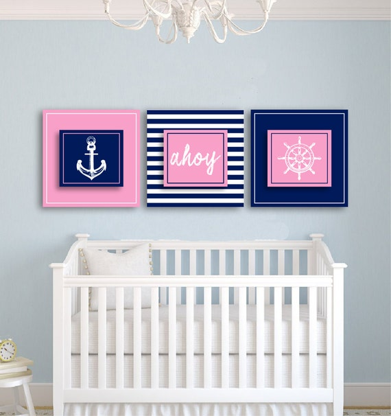 girls nursery nautical themed art prints