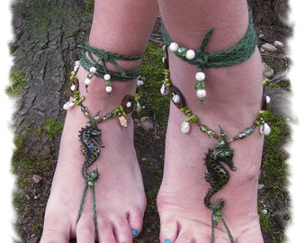 Sea Horse Jewelry, Beaded Barefoot Sandals, Barefoot Sandals, Beaded Foot Jewelry, Sea Shell Jewelry, Yoga, Under the Sea, Gift for Her