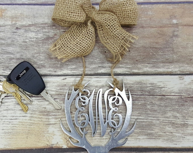 "Car Charm - Car Monogram - Rear View Mirror Monogram - 4.5"" Painted Monogram with Burlap Bow - Antler Monogram"