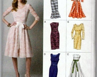 Vogue V8766 Sewing Pattern Size AA 6 8 10 12 Dress with Bodice Neckline and Sleeve Options Uncut