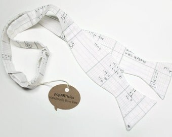 Freestyle Accounting Bow Tie - Math Bow Tie - Text Bow Tie - Ledger Bow Tie - Architecture Bow Tie - Handmade Men's Self-Tie Bow Tie