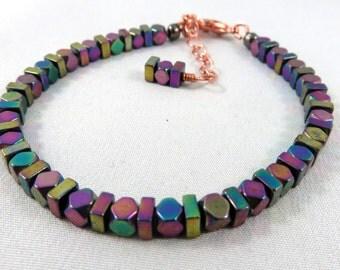 Multi-color Hematite Bracelet. Aurora Borealis Hematite. Jemstonez Bracelet