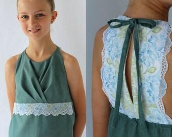 Girls sewing pattern, girls dress pattern, bridesmaid dress pattern, flower girl dress pattern, girls formal pattern, TAHLIA TOP & DRESS