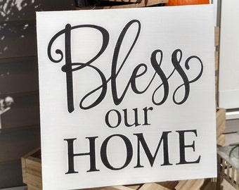 Bless Our Home Wood Sign   Wood Sign   Home Decor  Gallery Wall  Home Decor   Wall Hangings   Wall Sayings