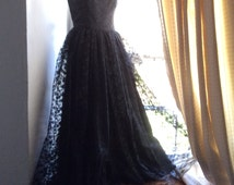 Vintage black lace dress,ball gown UK 4, very small, black lace strapless evening gown, exquisite.