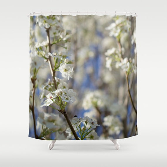 Shower Curtain, Blue and White, Pear Tree Flowers, Floral Bath Decor, Pretty Bathroom, Flower Photography, Photo Products, Apartment Gifts