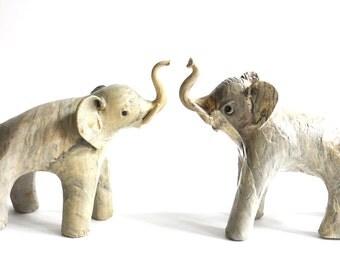 Vintage Set of Two Paper Mache Elephants