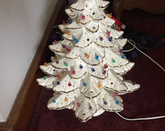 Vintage White mother of pearl gold ceramic Christmas tree