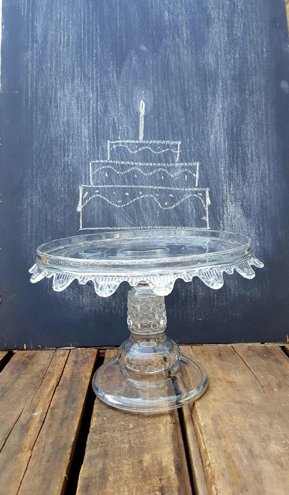 Vintage Etched Crystal Glass Cake Stand 9 Inch Pedestal Pie