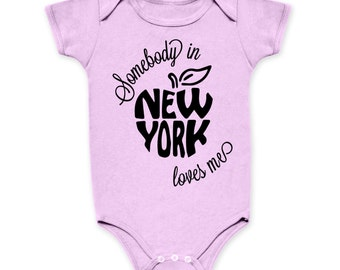 Somebody In New York Loves Me Baby Onesie One Piece Infant Toddler