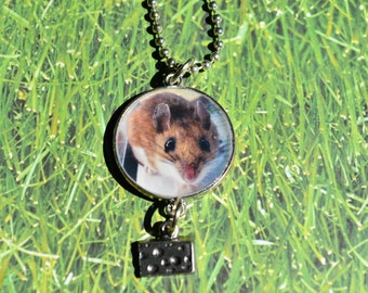 Deer Mouse Portrait With Cheese Charm Necklace-  Silver Round Pendant Necklace- Deer Mouse Jewelry