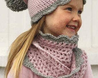 Crochet hat and neckwarmer for girl, Hand made girl hat, pink hat and neck warmer, baby hat, children hat, winter set for girl.