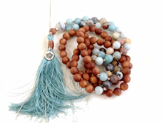 Lotus Charm Mala Beads, Amazonite & Sandalwood Mala, 108 Bead Mala, Hand Knotted Mala Necklace, Choose Your Charm, Yoga Mala Beads