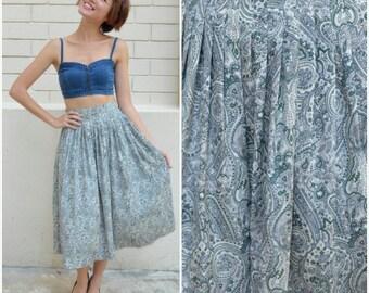 1950 Vintage Skirt/ Sea of Paisley Skirt/ Small Skirt/ Paisley Skirt/ Japanese Vintage/ Green Skirt/ Pleated Skirt/ Midi Skirt/ Sunday Skirt