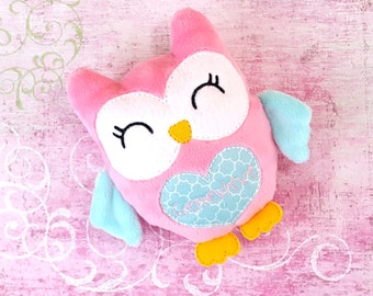 Valentine Gifts for Kids, Personalized Stuffed Animal, Decor for Pink and Aqua Nursery, Owl Plushie, Stuffed Animal for Owl Nursery, Kawaii